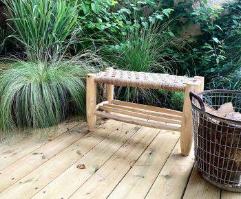 ספסל מרוקו עם מדף תחתון