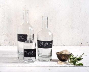 בקבוק זכוכית לשמן זית עם מדבקה משתנה