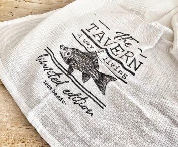 זוג מגבות מטבח מודפסות לבן