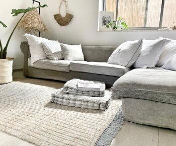 שטיח חבל טבעי שזור בכותנה אפורה