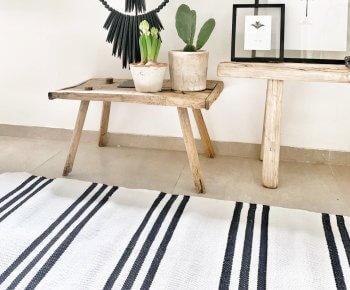 שטיח כותנה פסים שחורים