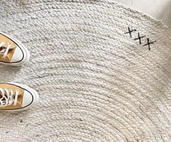 שטיח X עגול לבן