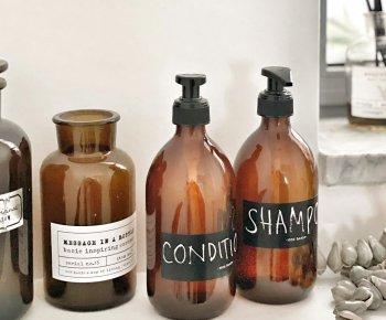 """בקבוק שמפו/מרכך מזכוכית למילוי חוזר 500 מ""""ל"""